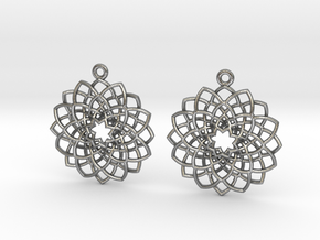 Mandala Flower Earrings in Natural Silver