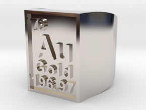 Gold Periodic Table Statement Ring Size 10 in Rhodium Plated Brass