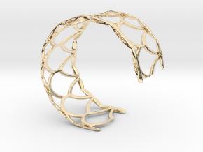 Fish Scale cuff bracelet (small/medium, snug fit) in 14k Gold Plated Brass
