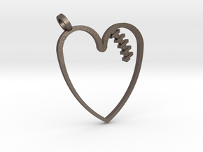 Mended Heart Pendant in Polished Bronzed Silver Steel