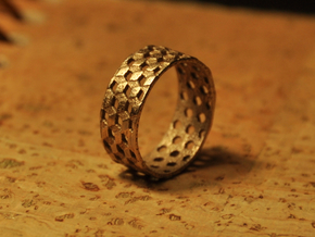 Parquet Deformation Ring (57mm) in Polished Bronzed Silver Steel
