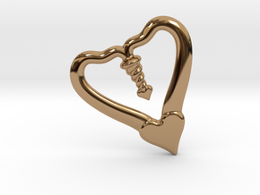 Valentine, 1.5 SCALE 2 Hearts, One Love in Polished Brass