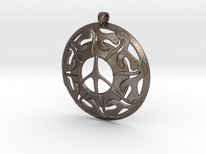 Peace Pendant in Polished Bronzed Silver Steel