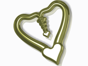 Valentine, 1.5 SCALE 2 Hearts, One Love in 14k Gold Plated Brass