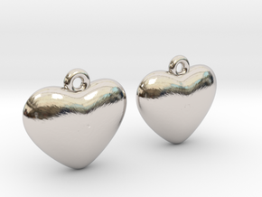 Heart Earrings in Rhodium Plated Brass