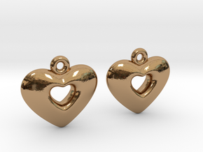 Heart Earrings in Polished Brass