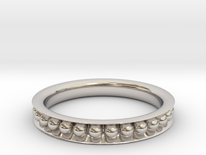 Sphere-Edged Ring (Sz 8) in Rhodium Plated Brass