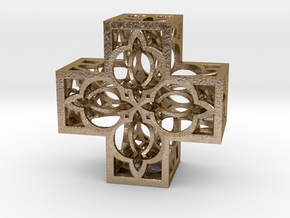 Fractal Cross H4 75mm in Polished Gold Steel