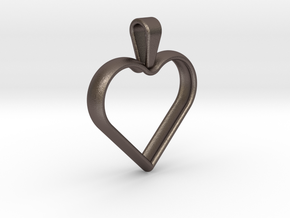 Simple heart pendant in Polished Bronzed Silver Steel