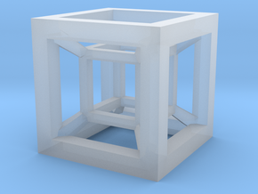 4D Hypercube in Smooth Fine Detail Plastic