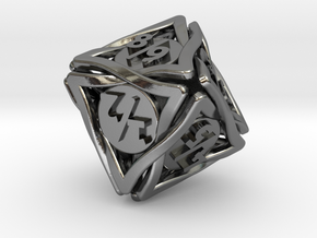 'Twined' Dice D8 Spindown Tarmogoyf P/T Die in Polished Silver