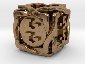 'Twined' Dice D6 MTG -1/-1 Counters die in Natural Brass