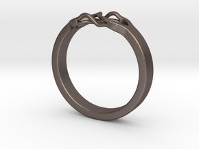Roots Ring (23mm / 0,9inch inner diameter) in Polished Bronzed Silver Steel