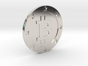 Bitcoin real coin in Rhodium Plated Brass