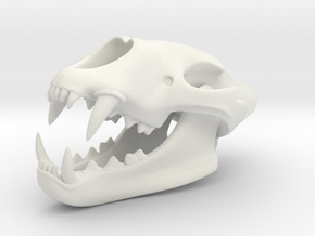 3D Printed Lion Skull in White Natural Versatile Plastic