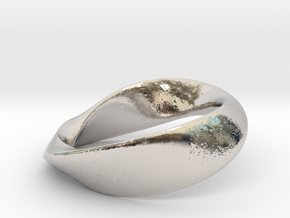 01-Mobius Ring No.13 in Rhodium Plated Brass