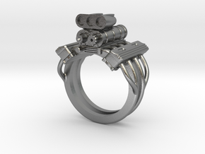 V8 ENGINE RING in Natural Silver: 12 / 66.5