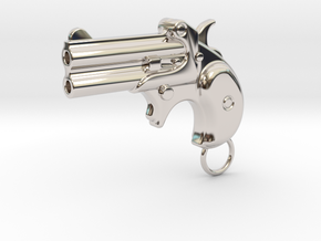 Derringer Gun in Rhodium Plated Brass