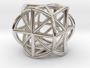 Cube-Ball Pendant in Rhodium Plated Brass