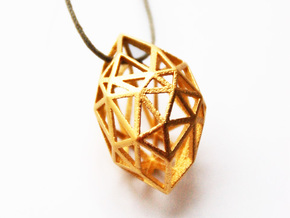 Pendant Rough Diamond SMALL  in Matte Gold Steel