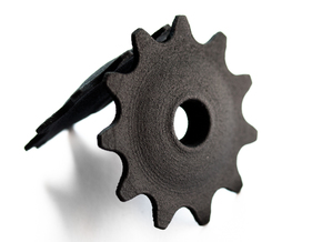 Pulley 11t for RD, hollow, flange (lower pulley) in Black Strong & Flexible