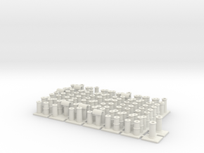 T005 Chimney Pots - 4mm Scale in White Natural Versatile Plastic