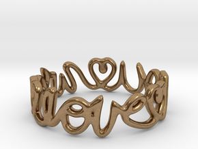 """We Love you"" Ring in Natural Brass"