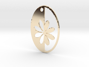 Simple Flower pendant in 14K Yellow Gold