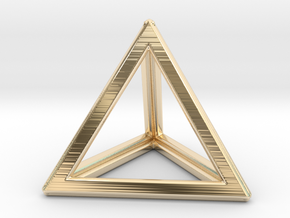 TETRAHEDRON (Platonic) in 14k Gold Plated Brass