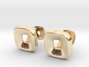 Square Halo Cufflinks in 14K Yellow Gold