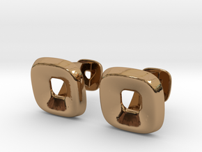 Square Halo Cufflinks in Polished Brass