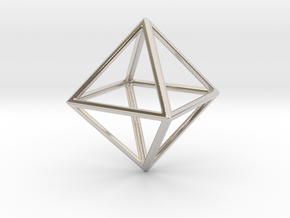 OCTAHEDRON (Platonic) in Rhodium Plated Brass