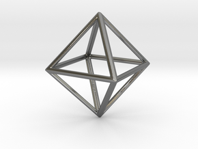 OCTAHEDRON (Platonic) in Fine Detail Polished Silver