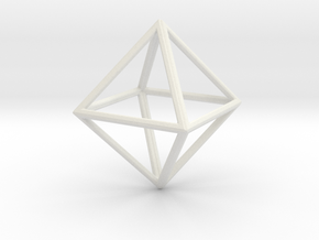 OCTAHEDRON (Platonic) in White Natural Versatile Plastic