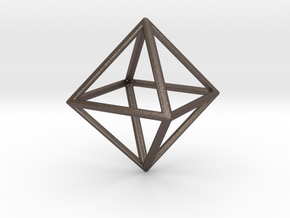 OCTAHEDRON (Platonic) in Polished Bronzed Silver Steel