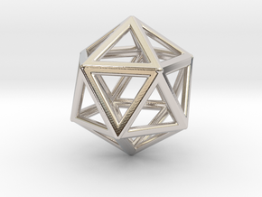 ICOSAHEDRON (Platonic) in Rhodium Plated