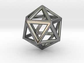 ICOSAHEDRON (Platonic) in Fine Detail Polished Silver