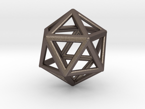 ICOSAHEDRON (Platonic) in Polished Bronzed Silver Steel