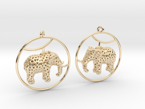 Elephant Earring in 14k Gold Plated Brass