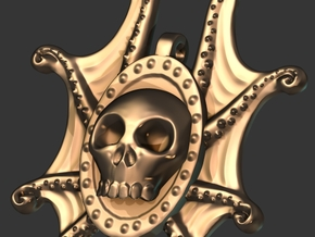 skulltopus pendant in Smooth Fine Detail Plastic