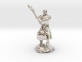 Human Fighter Noblewoman with Greataxe & Chainmail in Rhodium Plated Brass