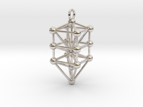 Small Qabalistic Tree of Life Pendant in Rhodium Plated Brass