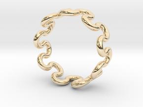 Wave Ring (15mm / 0.59inch inner diameter) in 14k Gold Plated Brass