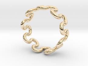 Wave Ring (17mm / 0.66inch inner diameter) in 14k Gold Plated Brass