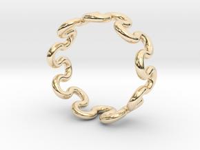 Wave Ring (19mm / 0.74inch inner diameter) in 14k Gold Plated Brass