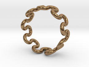 Wave Ring (19mm / 0.74inch inner diameter) in Natural Brass
