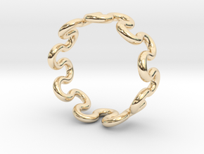 Wave Ring (24mm / 0.94inch inner diameter) in 14k Gold Plated Brass