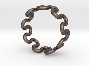 Wave Ring (22mm / 0.86inch inner diameter) in Polished Bronzed Silver Steel