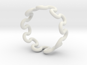 Wave Ring (22mm / 0.86inch inner diameter) in White Natural Versatile Plastic
