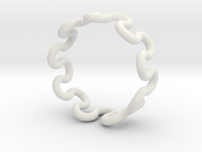 Wave Ring (23mm / 0.90inch inner diameter) in White Natural Versatile Plastic